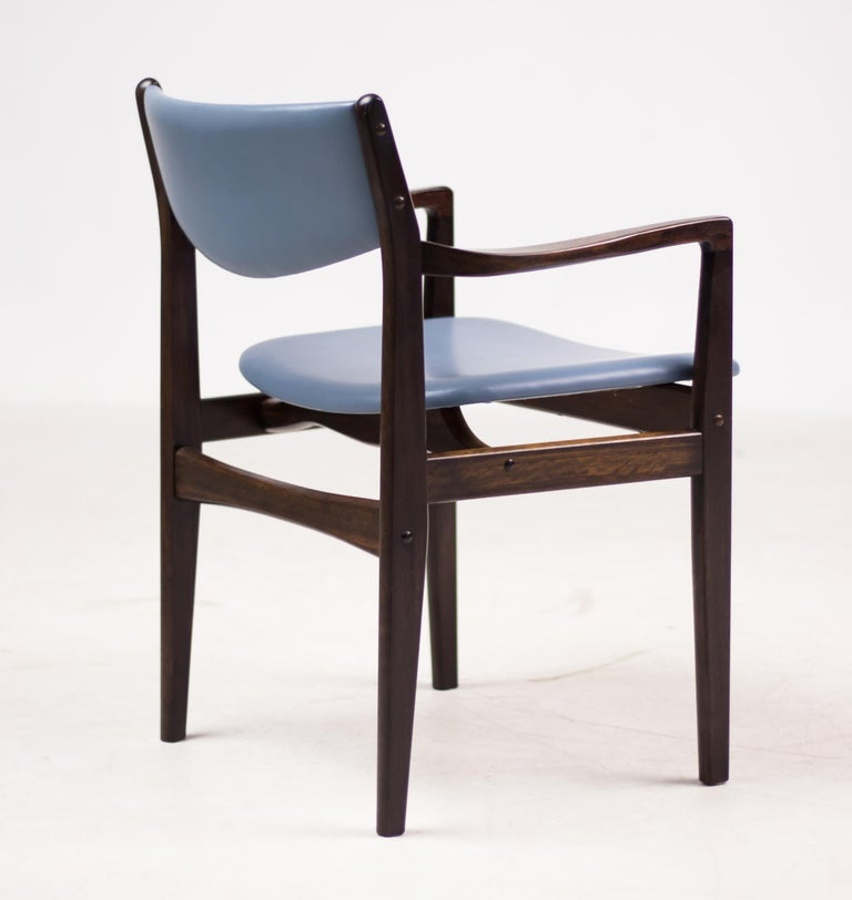 Mid-20th Century Set of Eight Godtfred Petersen Armchairs in Mahogany and Baby Blue Leather For Sale