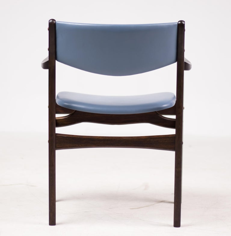 Set of Eight Godtfred Petersen Armchairs in Mahogany and Baby Blue Leather For Sale 2