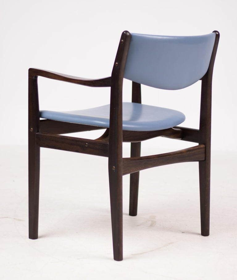 Set of Eight Godtfred Petersen Armchairs in Mahogany and Baby Blue Leather For Sale 3