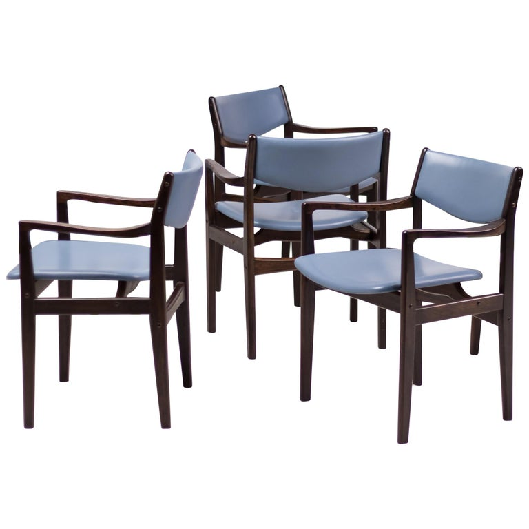 Set of Eight Godtfred Petersen Armchairs in Mahogany and Baby Blue Leather For Sale