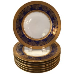 Set of Eight Gold and Cobalt Blue Service/Dinner Plates Royal Doulton