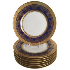 Set of Eight Gold and Cobalt Blue Service Plates