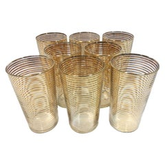 Set of Eight Gold Band Decorated Art Deco Highball Glasses