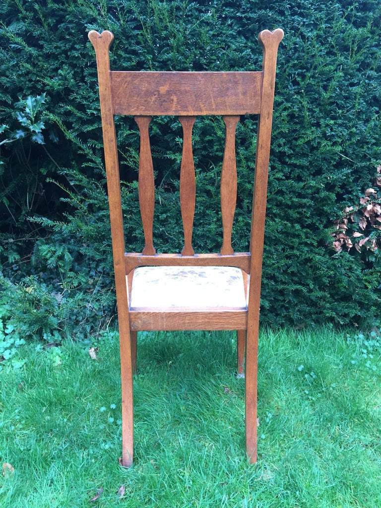 19th Century Set of Eight Golden Oak Arts & Crafts Dining Chairs Retaining the Original Label For Sale