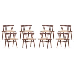 Set of Eight Grass Seated Dining Chairs by George Nakashima