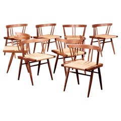Set of Eight Grass Seated Dining Chairs by George Nakashima Studio, US, 2021