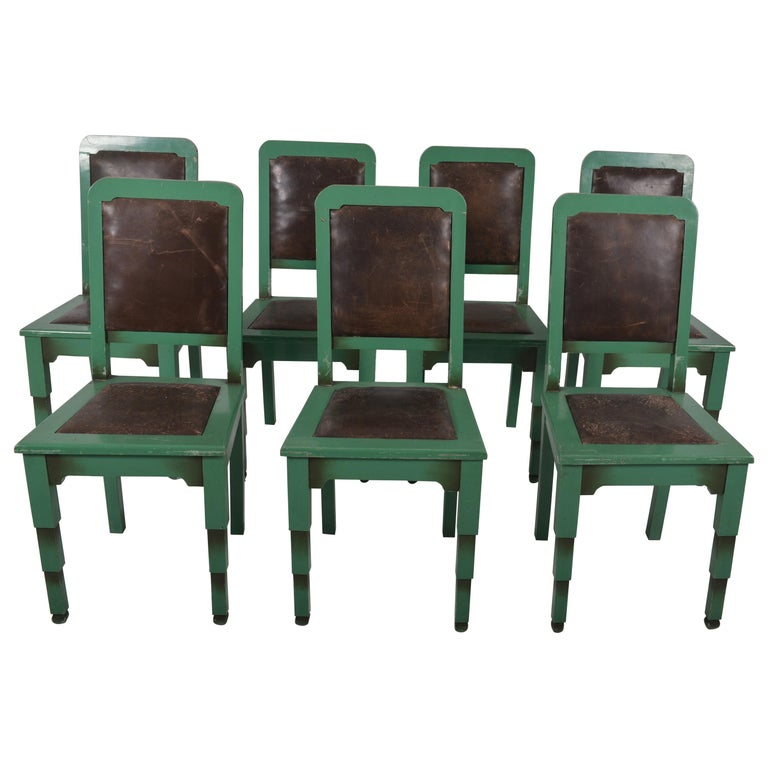 Dining Room Set With Bench Seating Painted Tongue And: Set Of Eight Green Painted Belgian Art Deco Dining Chairs