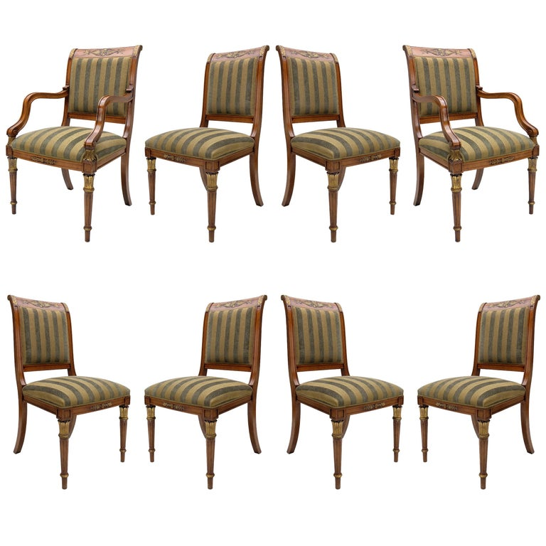 Striped Dining Room Chairs: Set Of Eight Green Striped Provasi Dining Room Chairs For