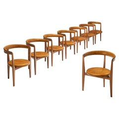 Set of Eight Guido Canali Chairs in Walnut and Cognac Leather