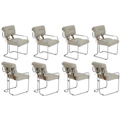 Set of Eight Guido Faleschini for i4 Mariani Grey Tucroma Dining Room Chairs