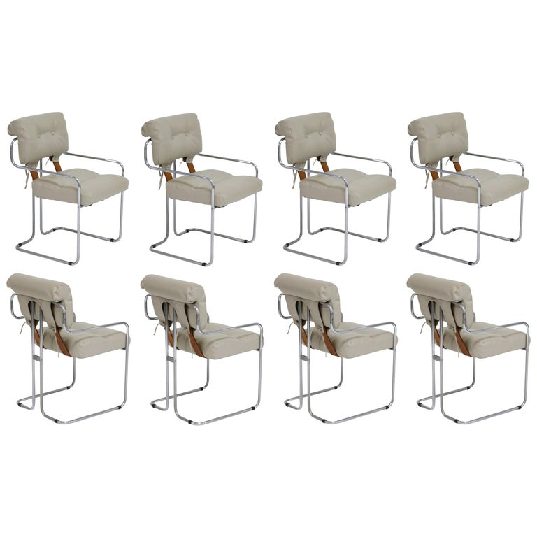 Set of Eight Guido Faleschini for i4 Mariani Grey Tucroma Dining Room Chairs  For Sale