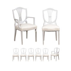 Set of Eight Painted Wood Shield-Back Dining Chairs