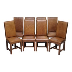 Set of Eight Halo Soho High Back Heritage Brown Leather Dining Chairs