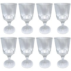 Set of Eight Hand-Blown Crystal Wine Glasses