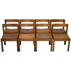 Set of Eight Handcrafted Mid-Century Modern Clive Bacon Dining Chairs Stacking