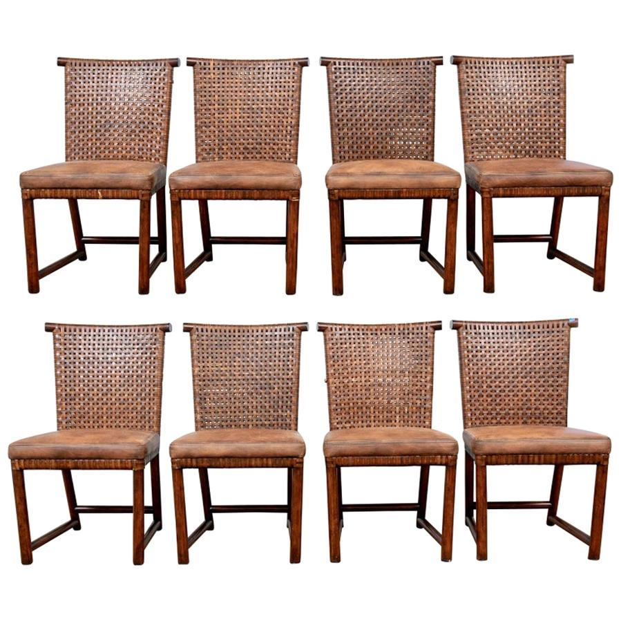 Set of Eight Henredon Leather Strap Dining Chairs