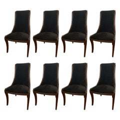 Set of Eight Henredon Matching Dining Chairs with Black Velvet Upholstery