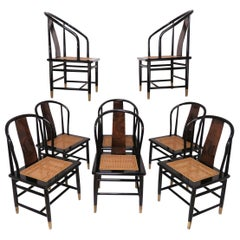 Set of Eight Henredon Scene III Lacquer and Burl Dining Chairs