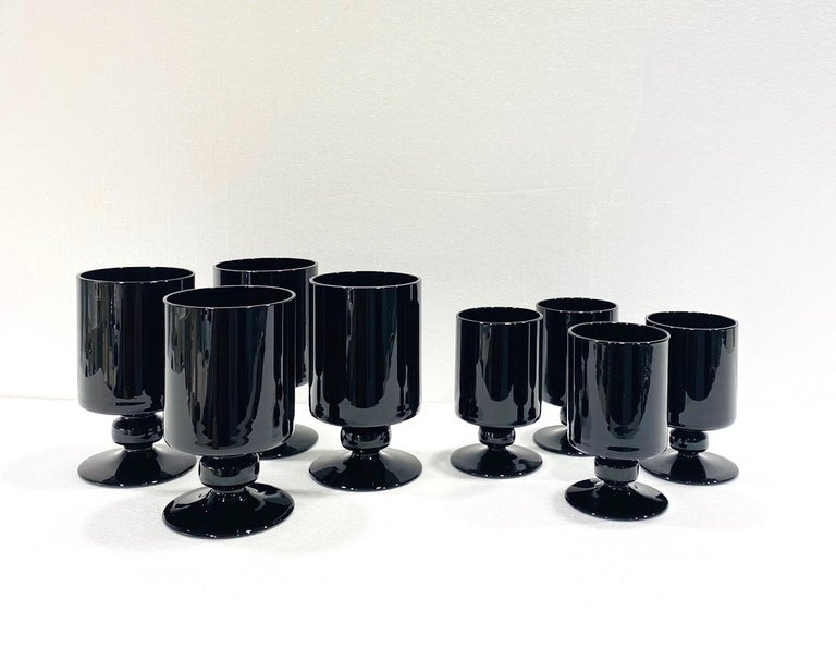 Late 20th Century Set of Eight Hollywood Regency Black Opaque Crystal Stemware Glasses circa 1980s For Sale
