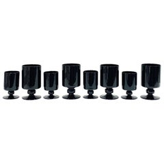 Set of Eight Hollywood Regency Black Opaque Crystal Stemware Glasses circa 1980s