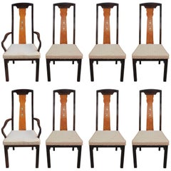 Set of Eight Hollywood Regency Dining Chairs with Hand-Painted Floral Motifs