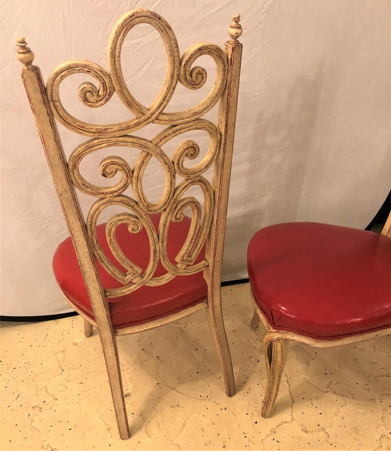 Set of Eight Hollywood Regency Style Louis Pistono Distressed Dining Chairs For Sale 5