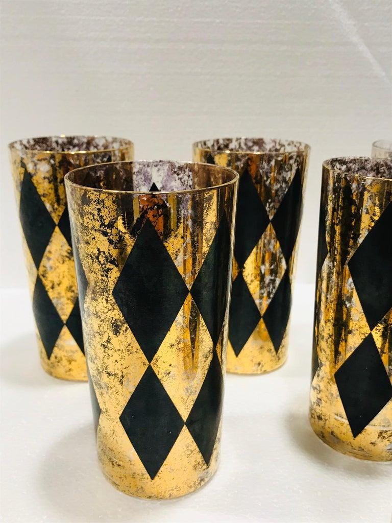 Set of Eight Hollywood Regency Tom Collins Barware Glasses in Gold & Black, 1960 For Sale 5