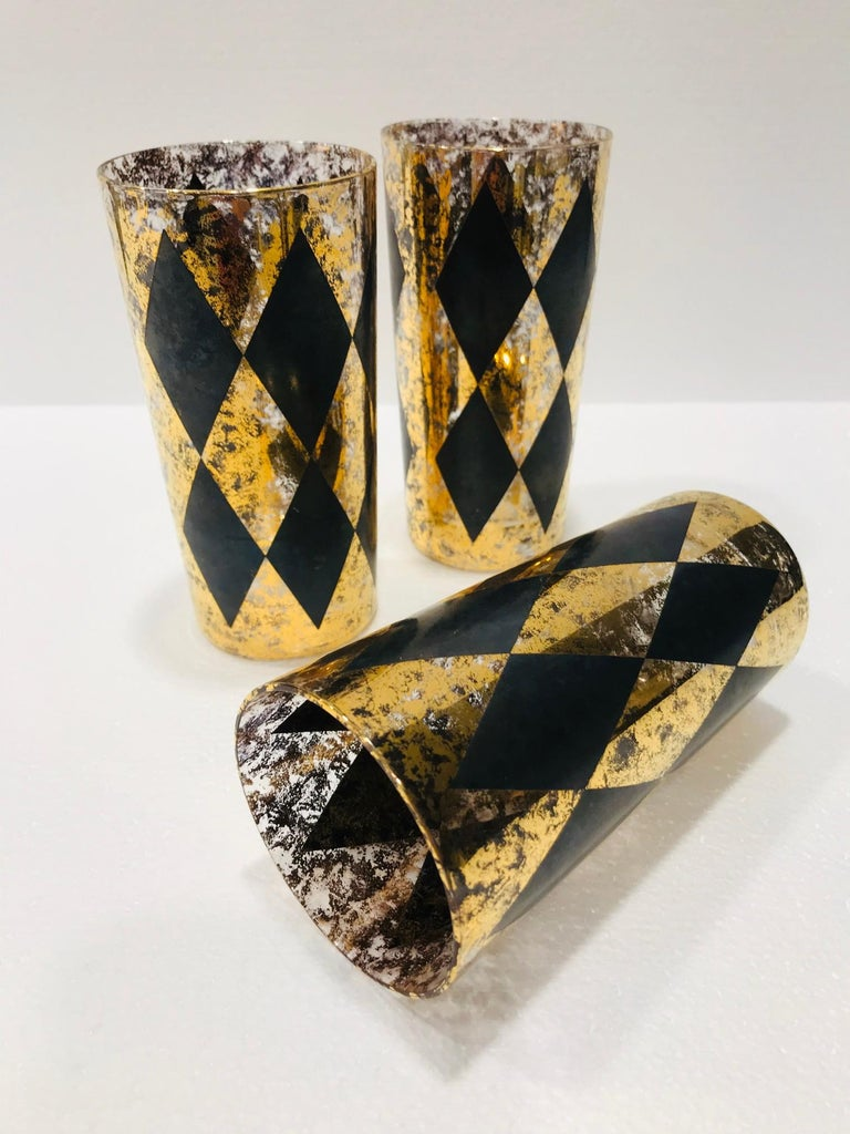 Mid-Century Modern Set of Eight Hollywood Regency Tom Collins Barware Glasses in Gold & Black, 1960 For Sale