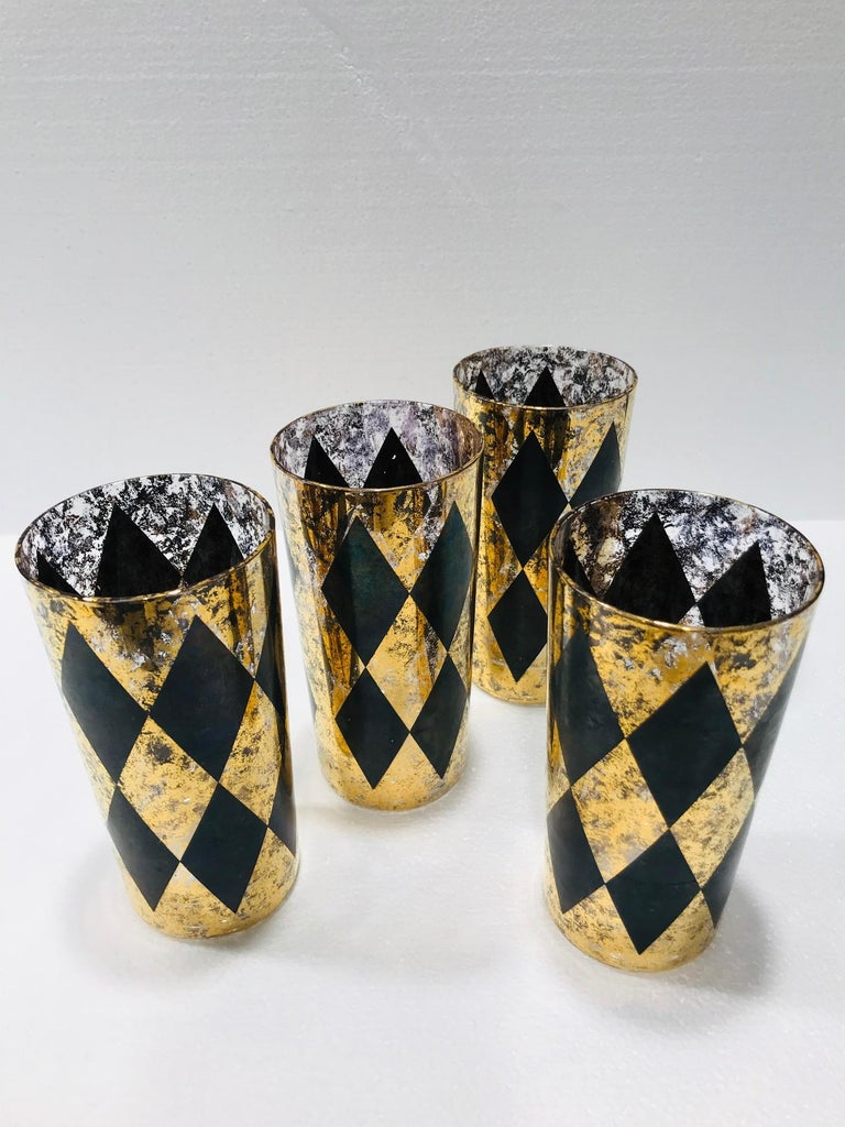 American Set of Eight Hollywood Regency Tom Collins Barware Glasses in Gold & Black, 1960 For Sale