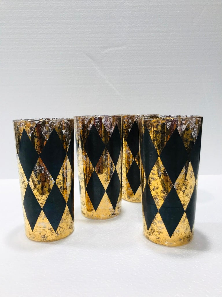 Set of Eight Hollywood Regency Tom Collins Barware Glasses in Gold & Black, 1960 In Good Condition For Sale In Fort Lauderdale, FL