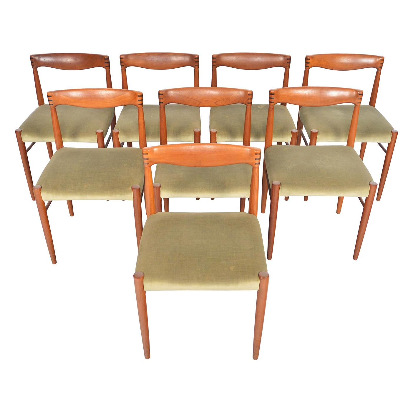 Set of Eight H.W. Klein Danish Modern Teak and Rosewood Dining Chairs by Bramin