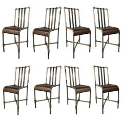 Set of Eight Industrial Iron and Steel Chairs