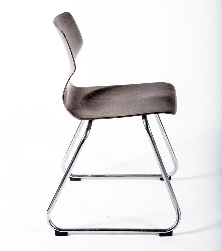 German Set of Eight Industrial Stacking Chairs For Sale