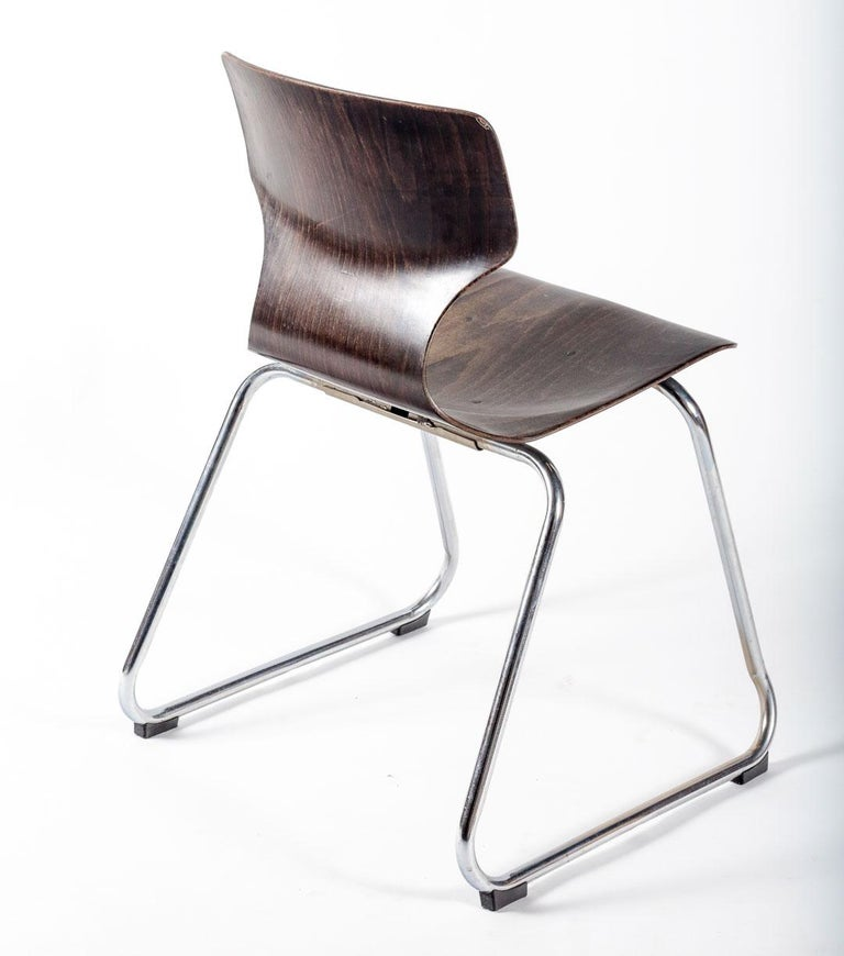 Molded Set of Eight Industrial Stacking Chairs For Sale
