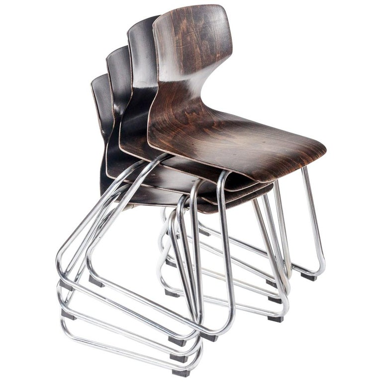 Set of Eight Industrial Stacking Chairs For Sale