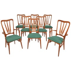 Set of Eight 'Ingrid' High Back Dining Chairs in Teak