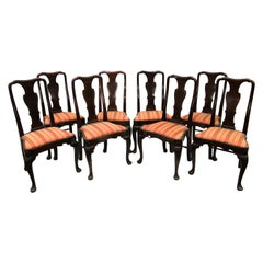 Set of Eight Inlaid Queen Anne Style Chairs