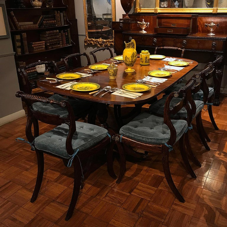 Early 19th Century Set of Eight Irish Regency Brass Inlaid Dining Chairs For Sale