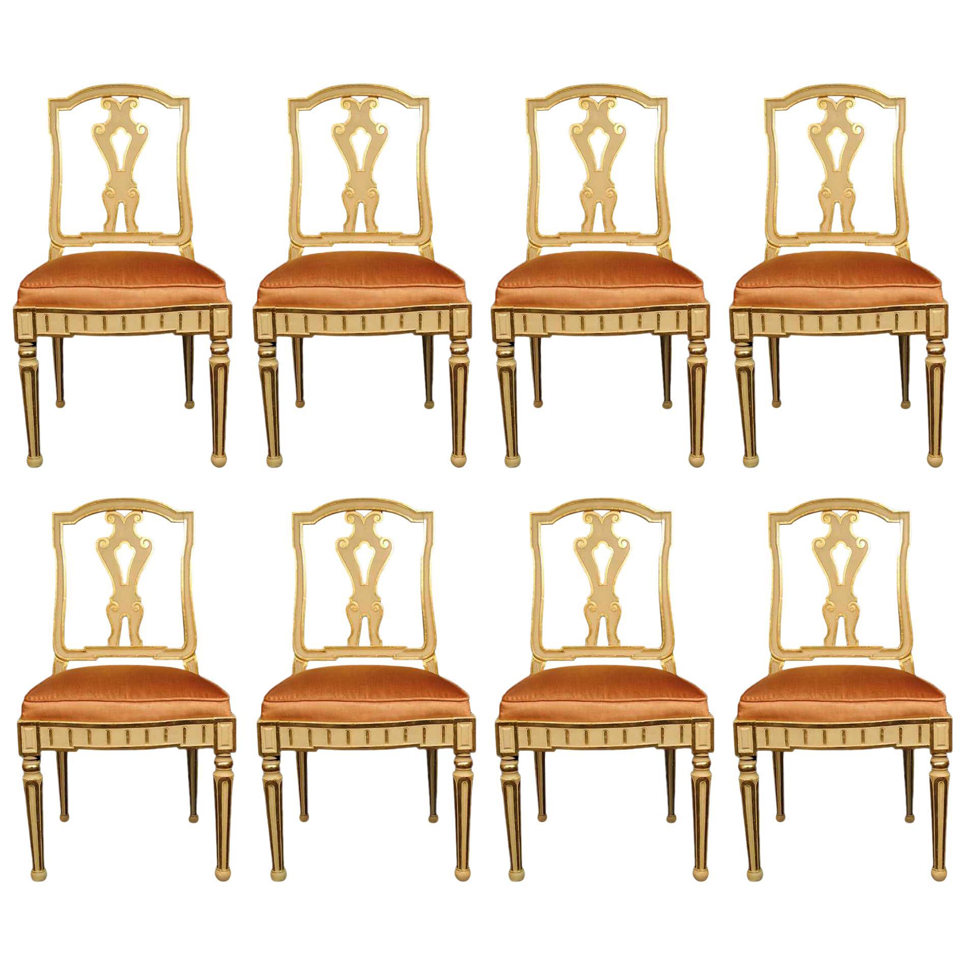 Set of Eight Italian 19th Century Dining Chairs
