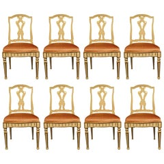 Set of Eight Italian 19th Century Dining Chairs