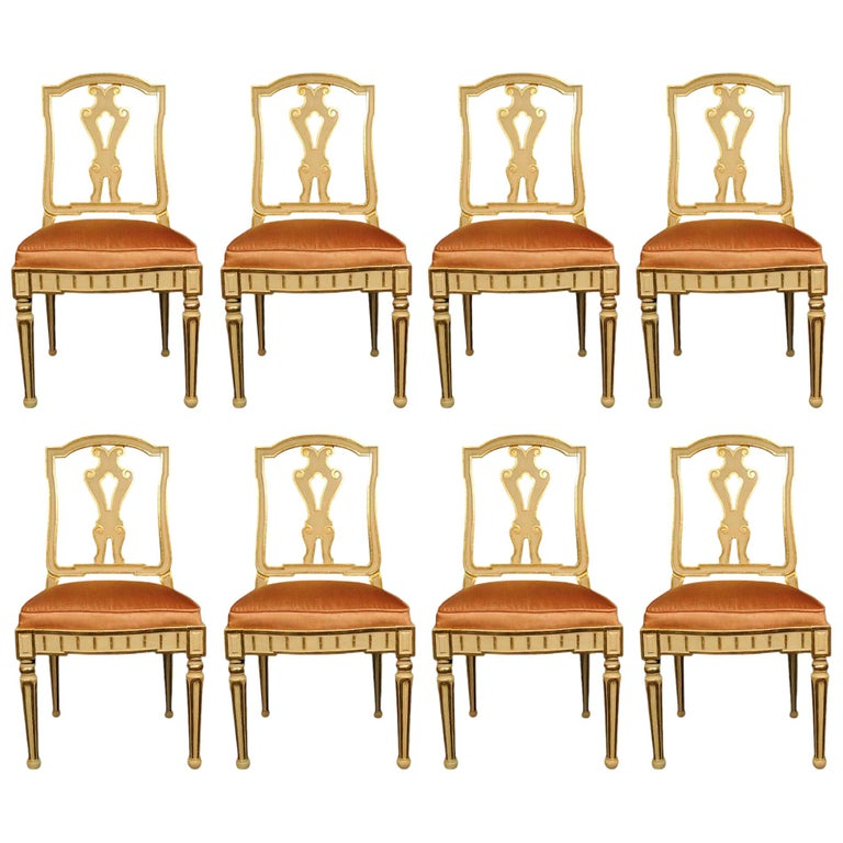 Set of Eight Italian 19th Century Dining Chairs For Sale