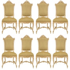 Set of Eight Italian 19th Century Giltwood Venetian Dining Chairs