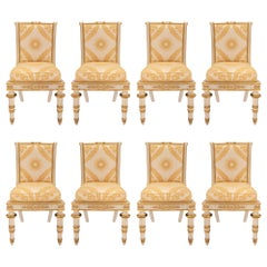 Set of Eight Italian 19th Century Neoclassical Style Giltwood Dining Chairs