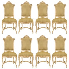 Set of Eight Italian 19th Century Patinated and Giltwood Venetian Dining Chairs