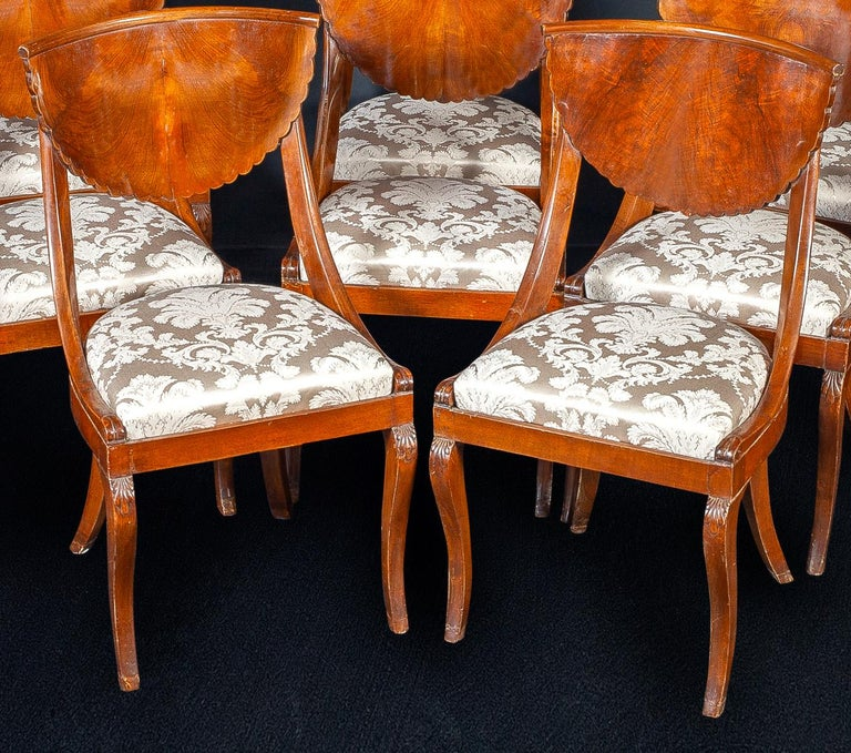 Set of Eight Italian Chairs and a Pair of Armchairs For Sale 4