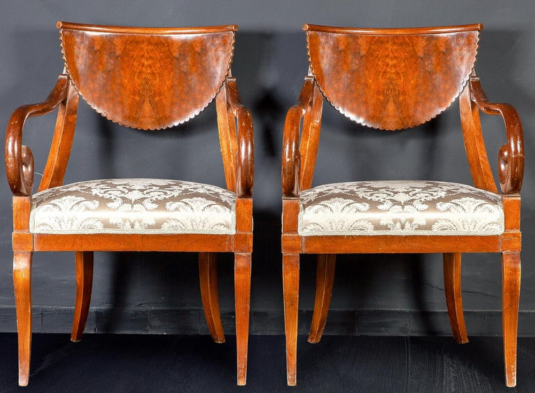 Set of Eight Italian Chairs and a Pair of Armchairs For Sale 8