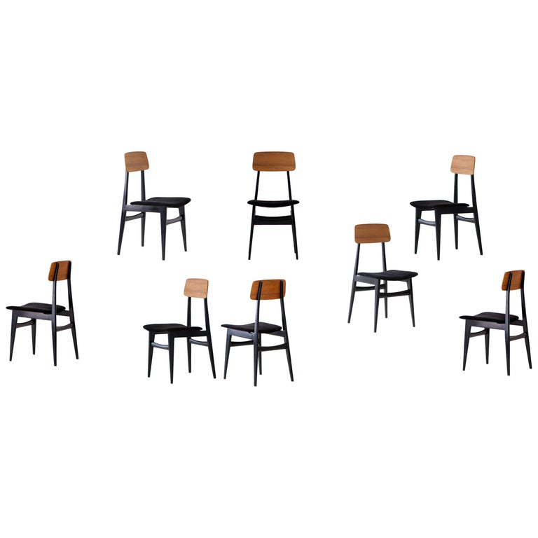Set of Eight Italian Dining Chairs, 1950s For Sale