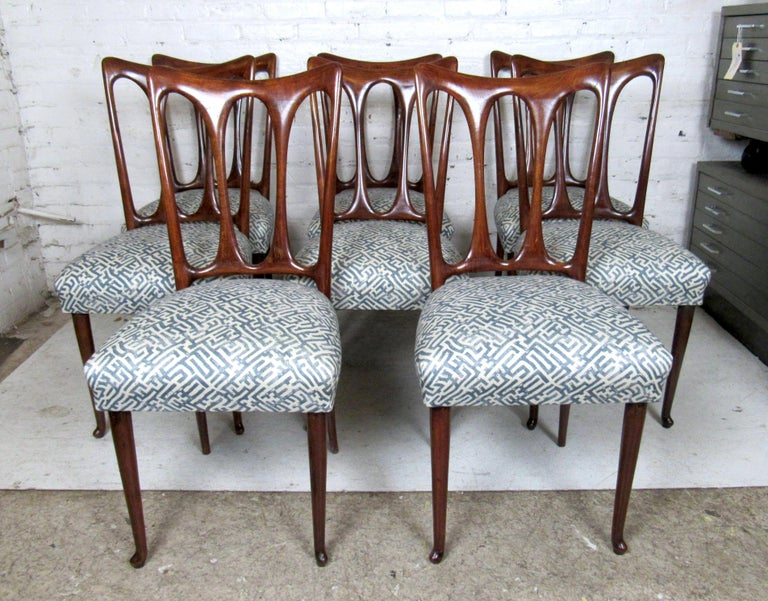 Mid-Century Modern Set of Eight Italian Dining Chairs For Sale
