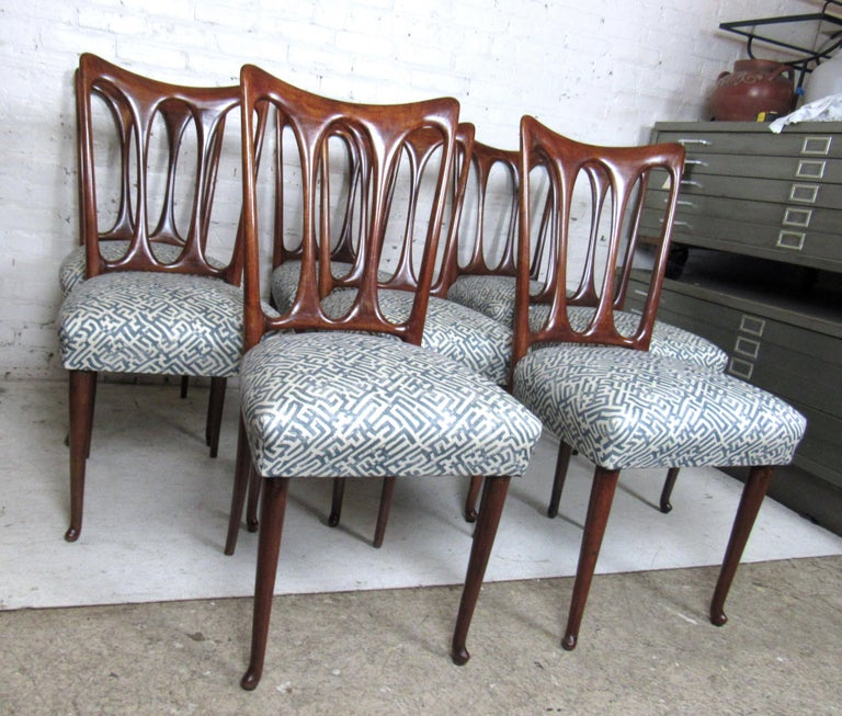 Mid-20th Century Set of Eight Italian Dining Chairs For Sale