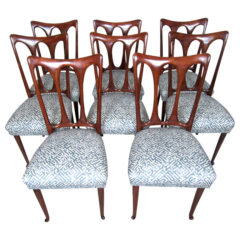 Set of Eight Italian Dining Chairs For Sale